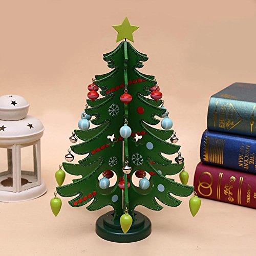 Kids diy albero di natale in legno set con ornamenti regalo dei bambini per bambini porta da appendere alla parete preschool craft decorazione natalizia green