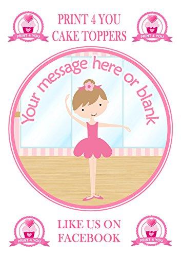 ND4Ballett Ballerina Tänzerin Dunkles Haar Geburtstag print4you Personalisierter Runder Tortenaufsatz, ca. 19,1cm (oder kleiner auf Wunsch), auf Zuckerguss
