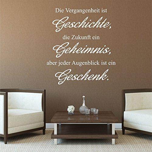 greenluup ökologisches Wandtattoo Zitat. in Schwarz Sprüche und Zitate Vergangenheit Zukunft..jeder Augenblick ein Geschenk mit Vögeln