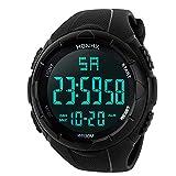 Uhren Herren Wasserdicht Sport Analog Digital Militär Armee Sport LED Wasserdicht Männer Edelstahl Business Fashion Armbanduhr Mann Runde Uhr (Black #)