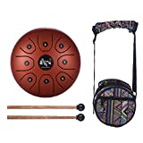 Decdeal 5.5 Inch Mini 8-Tone Steel Tongue Drum C Key Percussion Instrument Hand Pan Drum with Drum Mallets Carry Bag