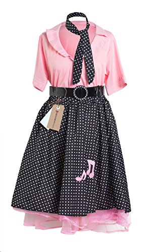 1950er Rock and Roll Kleid von Emma's Wardrobe – Enthält Polka Dot Rock, pinke Bluse, schwarzen Gürtel und Halstuch – Schickes Kleid für Partys oder Grease Kostüme – Größen 36-46