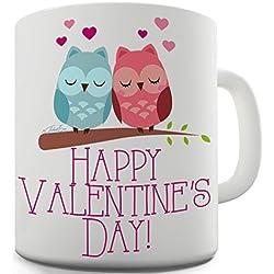 Trenzado Envy del día de San Valentín búhos taza de cerámica novedad