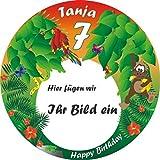 Rundes Tortenbild für Mottoparty Dschungel oder Safari, +Name +Alter +Foto Ihres Kindes, eine Fototorte selber machen mit dieser essbaren Tortenauflage, ideal für jede Dschungelparty oder Safariparty bzw. den Afrika-Themengeburtstag