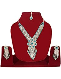 Silver Plated American Diamond Necklace Set / Jewellery Set With Earrings And Ring For Women And Girls