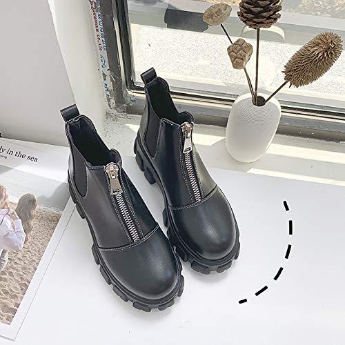 MASAP Nackte Stiefel Martin Boots Female Britischen Stil Herbst Und Winter Dickbesohlte Plateauschuhe Front Zipper Short Tube Short Boots