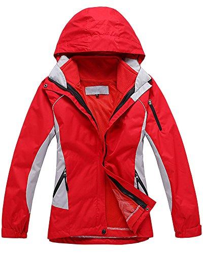 Damen 3 in 1 Outdoor Jacken Skifahren Bergsteigen warm Winddichte Bekleidung atmungsaktive Klettern Kleidung Rot S