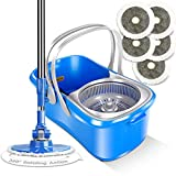 Masthome 4L Easy Spin Mop & Bucket Floor Cleaning with 2 Microfiber Mop