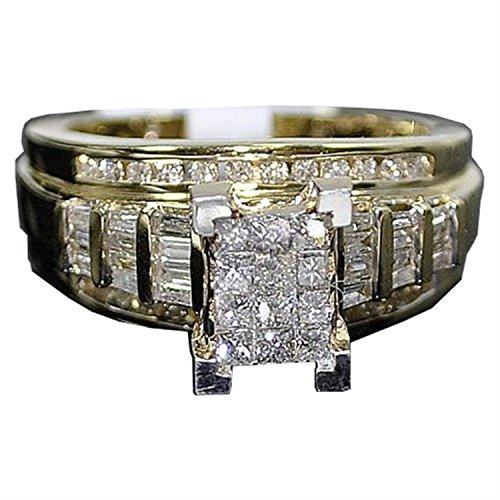 rings-midwestjewellery. COM Damen-Princess Cut Diamant Hochzeit Ring Verlobungsring 3in 1& Bands gelb gold .9Karat (J/K, I2/i3) (1-karat-diamant Ring Princess Cut)