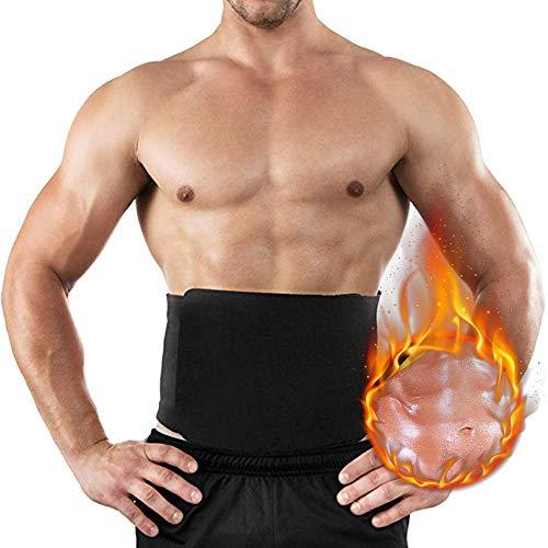 Vertvie Herren Bauchweggürtel - Bauch-und Rückenstützgürtel - Hot Belt - Schwitzgürtel - Waist Trimmer -Abnehmen mit dem Fitnessgürtel Klettverschluss Neopren (6XL, Schwarz)
