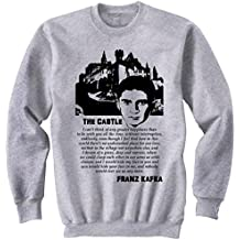 Teesquare1st Men's FRANZ KAFKA THE CASTLE QUOTE Grey Sweatshirt