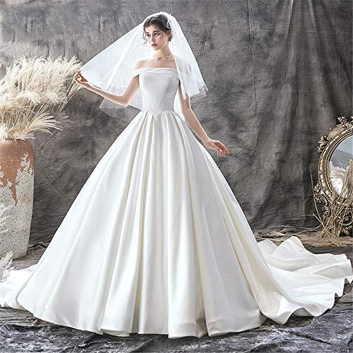 BTTNW WE Hochzeitskleid Frauen Hochzeitskleid for Braut Spitze Applique Abend Bodenlangen Lange Ballkleider Für Hochzeit besondere Anlässe (Farbe : White, Size : M) White Lace Floral Applique