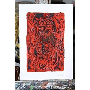 Die rote und schwarze Eule, Linolschnitt -Original künstlerische Gravur von Davide Pacini handprinted Größe cm 20,9x29,8 cm. Made in Italy, Lucca Toskana.