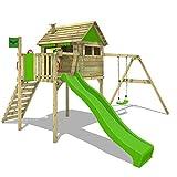 FATMOOSE Stelzenhaus FunFactory Fit XXL Spielturm Baumhaus Spielhaus mit Schaukel und apfelgrüner Rutsche