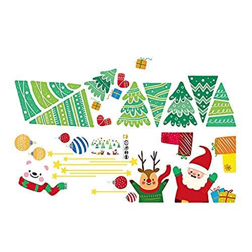 XINAINI Weihnachtsmann Und Elch Aufkleber, Schneeflocken Fensterbild Mit Weihnachtsbaum 3D Weihnachten Elk Abnehmbare Glasfenster Fenster Schlafzimmer/Wohnzimmer Wandaufkleber Hauptdekoration