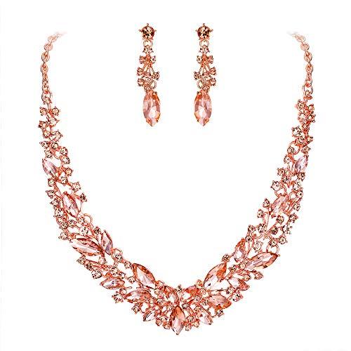 Clearine Damen Schmuckset Hochzeit Braut Österreichischen Kristall Marquise Cluster Kragen Halskette baumeln Ohrringe Set Morganit-Rosa Rosa-Gold-Ton