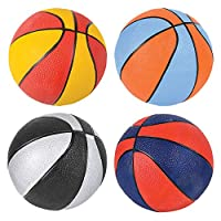 """Edgewood Toys 7"""" Assorted Colors Mini Basketballs – Kids Basketball Ball for Indoor & Outdoor Use – Small Basketball Great for Beginners – Pack of 4 Assorted Colors"""