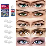 Sparkle Eye® Combo Pack 5 Pairs of Monthly Color Contact Lenses (Aqua,Green,Hazel,Honey & Blue) Zero Power with Free Lens Solution & 5 Lens Case/Containers Kit Suitable for both Male & Female/Unisex