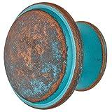 Gedotec - Pomo de latón para cajones, estilo antiguo, vintage, para muebles, de cobre rústico, H10750, diámetro de 36 mm, redondo, 1 unidad, diseño rústico con tornillos