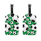 COOSUN Soccer Balls Luggage Tags Travel Labels Tag Name Card Holder for Baggage Suitcase Bag Backpacks, 2 PCS
