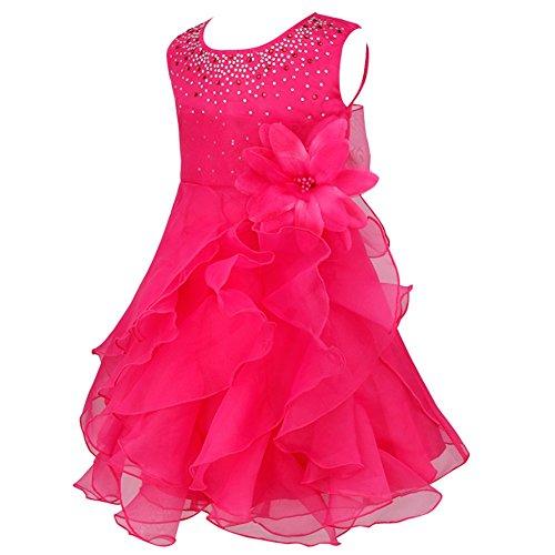 iiniim Baby Mädchen Kleid Prinzessin Kleid Blumenmädchenkleid Festlich Hochzeit Kleid Kleinkind Taufkleid Partykleid Festzug Rose 86-92/18-24 Monate Kleinkind Rose