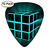 12-pack Guitar Picks Plectrums 0.46mm/0.71mm/0.96mm Rubik Cube Stylish Colorful Celluloid For Bass Ukulele