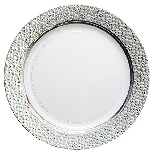 Decorline- Vaisselle de luxe à usage unique- Transparant avec Bord en argent effet martelé-Party-Jetable- -plastique rigide -10 pièces ( Assiette 26cm)