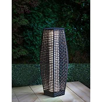Solar Powered Rattan Garden Floor Lamp