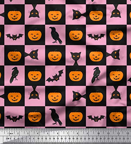 Soimoi Rosa Kunstseide Stoff Kürbis, Katze & Fledermaus Halloween gedruckt Craft Fabric 1 Meter 42 Zoll breit (Kürbisse Crafts Wenig Halloween)