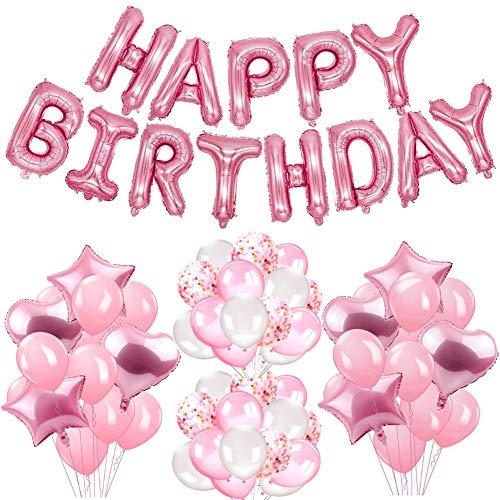 tstagsdeko Mädchen, Happy Birthday Girlande Luftballons rosa Sternherzballone Geburtstag deko ()