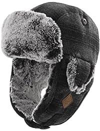 SIGGI Unisex warme Fliegermütze Winter Trappermütze mit Kunstfell Herren