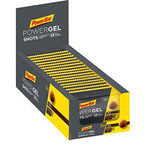 PowerBar Power Gel Shots mit Kohlenhydraten – Energie Gummis – 75mg Koffein – Cola (16 x 60 g)