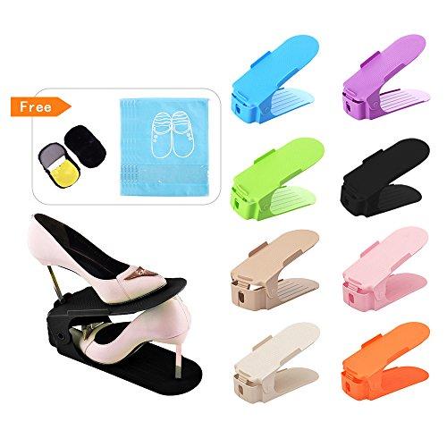 WCOCOW Creativo durevole Regolabile Scarpiera Salvaspazio Plastica Shoe Organizer Ideale per Scarpiera/Armadio/Mobili,8pezzi Scarpiera e 1pezzi Scatola di Immagazzinaggio (Multicolor)