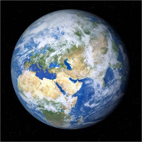Poster 70 x 70 cm: Erde vom Weltall gesehen von Detlev Van Ravenswaay/Science Photo Library - Hochwertiger Kunstdruck, Kunstposter