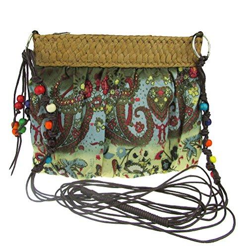 Donalworld donna Fashion Flower Cloth piccola a tracolla, borsa a spalla Borsetta in paglia Verde (Militare)