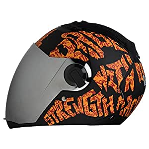 Steelbird SBA-2 Strength Stylish bike full face helmet with free transparent Visor for night vision (600MM, Black with Orange - Silver Mirror Visor)