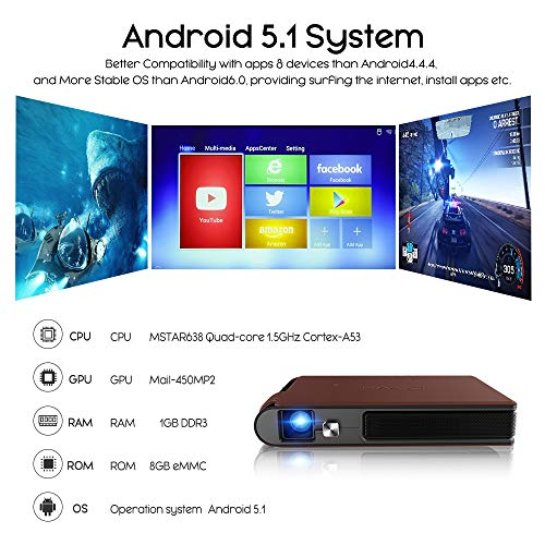 Mini Projector LED DLP Portable Bluetooth HDMI Wifi HD 1080P Video 3D Home Theater Projector Pocket Size Built-in Battery Speakers Android HDMI USB Audio SD for Camera Smartphone Laptop PC PS4 Gaming