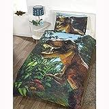 Jurassic T-Rex Bettbezug- und Kissenbezug-Set Exklusives Design Einzelbett