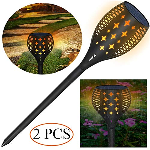 2-licht Im Freien Post (Solar Bodenleuchten Flackern Flamme Lampe LED Draussen Wasserdicht Dekoration Lampe Post Garten Poller Beleuchtung zum Pfad,Garten,Weg und Terrasse (2 PCS))