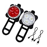 #2: DarkHorse Imported Bicycle USB Rechargeable 3 LED 4 Mode Front and Rear Light Combo/Set (White and Red)