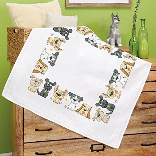 """Wunderschöne Stickpackung Tischdecke \"""" Spaßige Haustiere \"""" - Kreuzstich und Steppstich vorgezeichnet - ausführliche farbige Anleitung - Stickdecke und Stickgarn aus Baumwolle - fertig gesäumt mit eingewebtem Zierrand - qualitativ sehr hochwertig - zum Sofort-Loslegen - zum Selbersticken - aus dem KAMACA-SHOP (HUNDE / DOGS)"""