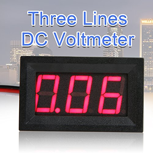 asiproper V27D 1,4cm LED Digital Voltmeter DC 0–40V Drei line Volt Meter, rot (Volt-line)