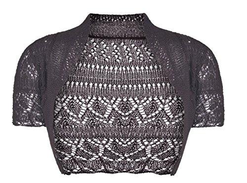 Filles Enfants Crochet à manches courtes en tricot Bolero Shrug âge 2-14 ans Marron