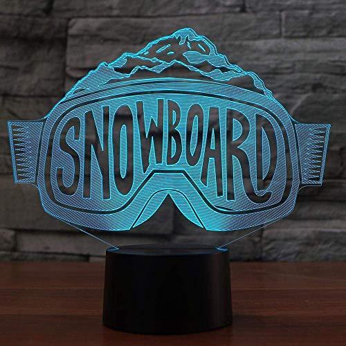 3D Led Skibrille Form Nachtlicht Bunte Farbverlauf Leselampe Schlafzimmer Nachttisch Dekoration Snowboard Schlaf Beleuchtung Geschenk