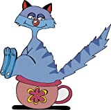 8 x 8 cm - Kontur geschnitten - Aufkleber Katze oder Männer Pinkeln im Stehen verboten oder Katzenkloo Sticker fürs Bad Toilette WC