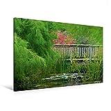 Premium Textil-Leinwand 120 cm x 80 cm quer, Teichbrücke | Wandbild, Bild auf Keilrahmen, Fertigbild auf echter Leinwand, Leinwanddruck (CALVENDO Natur)