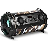 Rebeltec SoundTube 190 Drahtloser Bluetooth Lautsprecher 30W RMS MicroSD USB Aux Radio Mikrofon LED-Beleuchtung (Camo)