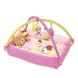 SONARIN Cute Bear Tappetini gioco Bébés Baby Play Mat & Activity Gym con giocattoli di attività, Cuscino per orsi, Letto piccolo,Colorato e interattivo,Ideale Regalo(Rosa)