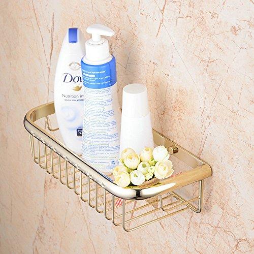 Hiendure® 30cm Duschecke Bad Regal für Dusche oder Badewanne Bad Duschregal Badregal Eckablage Regal Korb Ablage,Poliert Gold