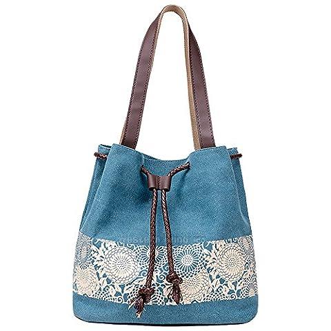 Wocharm Ladies Cotton Canvas Drawstring Shoulder Bag Totes Handbag Summer Beach Bag Women Hobo Shoulder Bag Bohemian Style Messenger Bag (Blue)